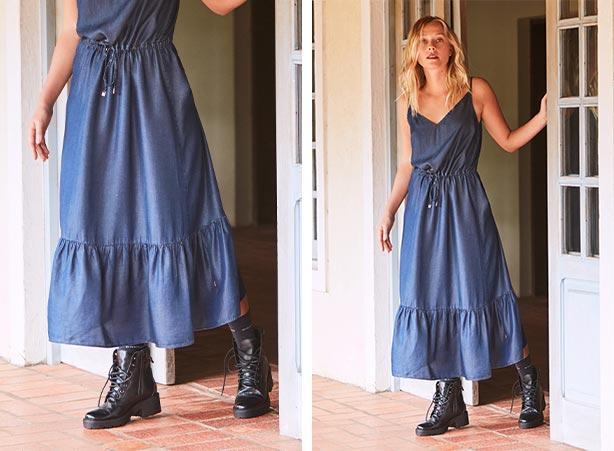 Vestido longo com coturno