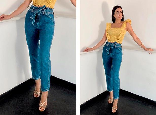 Tipos de calças jeans femininas: Clochard com blusa cropped
