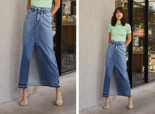 Blusa de gola alta com saia jeans longa