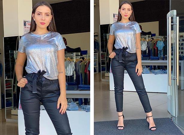 Blusa metalizada com calça em tecido resinado