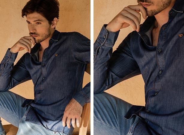 Camisa jeans com calça jeans masculina