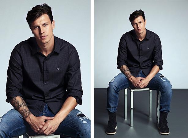 Camisa social com calça jeans e botas