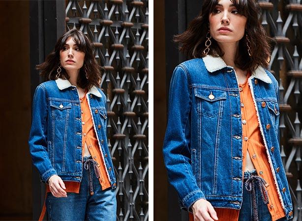Cardigan com jaqueta jeans