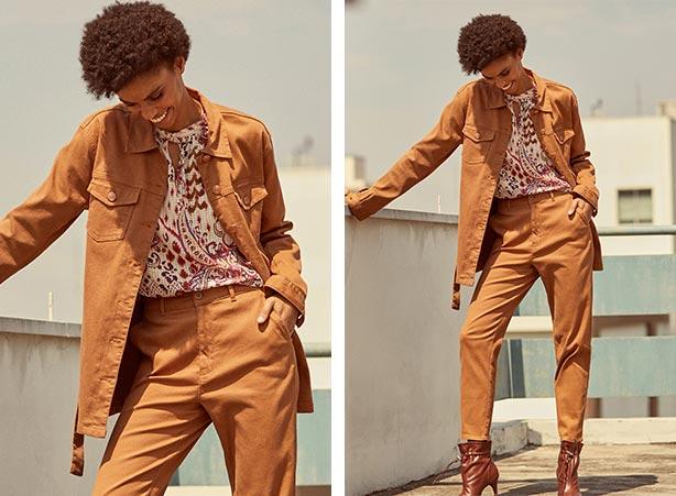 Jaqueta e calça caramelo em looks femininos estilosos