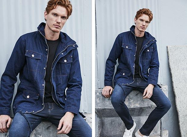 Jaqueta parka masculina com calça jeans