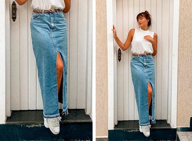 Saia jeans longa com tênis