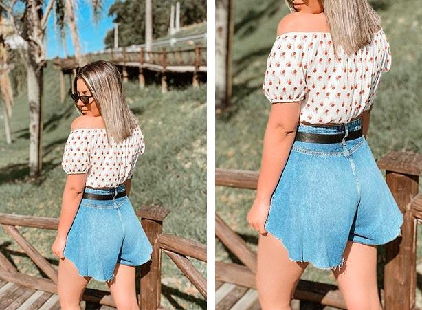 Short jeans godê com top cropped