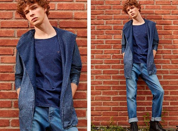 Look total jeans masculino com cardigan