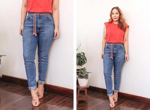 Calça jeans clochard com cinto