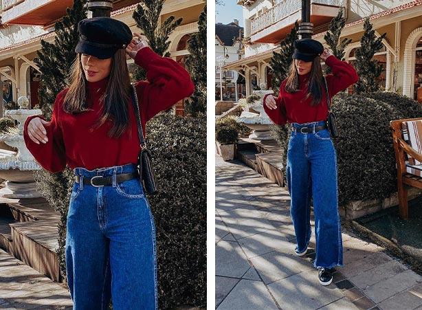Calça jeans com blusa de gola alta