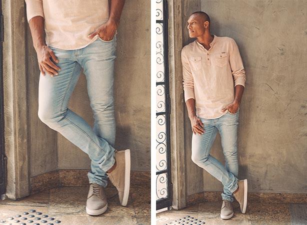 Calça jeans superskinny com bata
