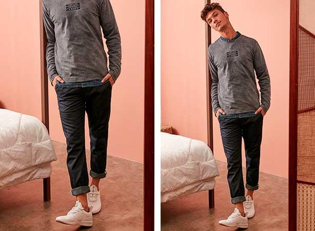 Camisa jeans com camiseta manga longa