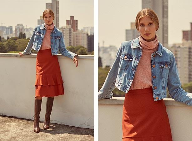 Jaqueta jeans curta com saia midi