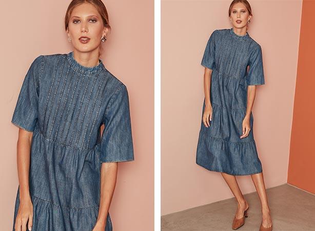look romântico: Look com vestido jeans