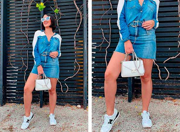 Saia mini jeans com tênis