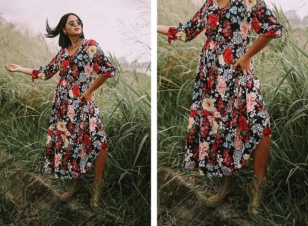Bota com vestido florido