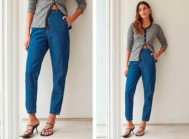 Calça chino jeans com cardigan