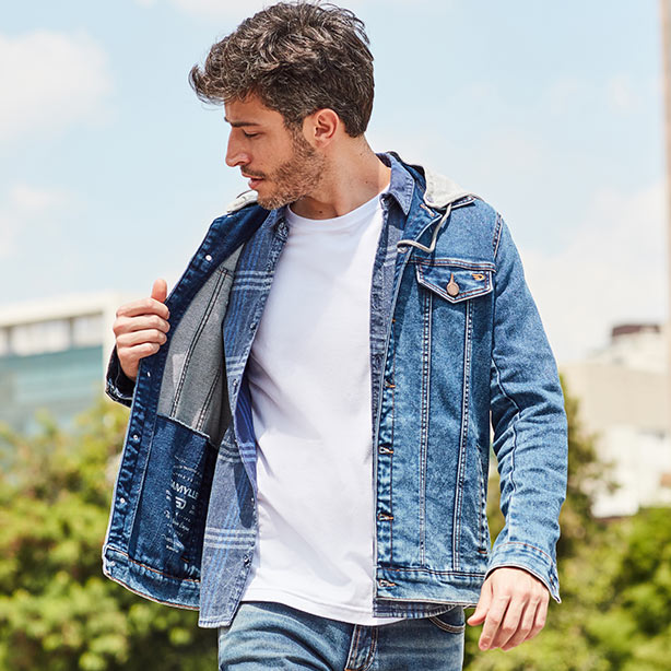 Look masculino com jaqueta, camisa e camiseta