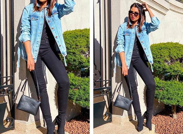 Jaqueta jeans com camiseta e calça preta