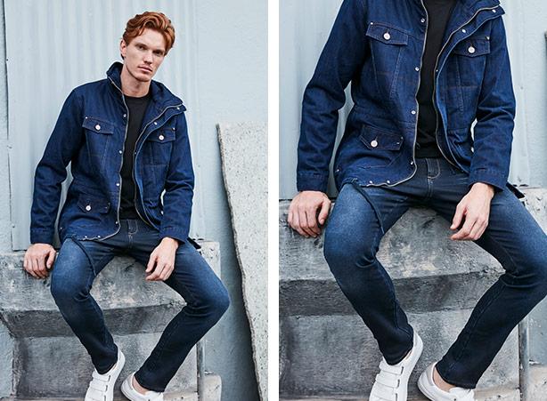 Jaqueta jeans masculina com camiseta preta e calça jeans