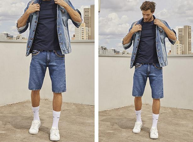 Jaqueta masculina com bermuda jeans