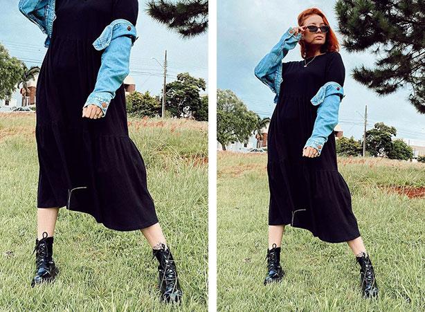Vestido preto com coturno preto