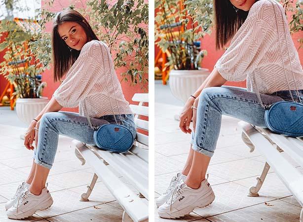 Calça jeans com barra dobrada e tênis