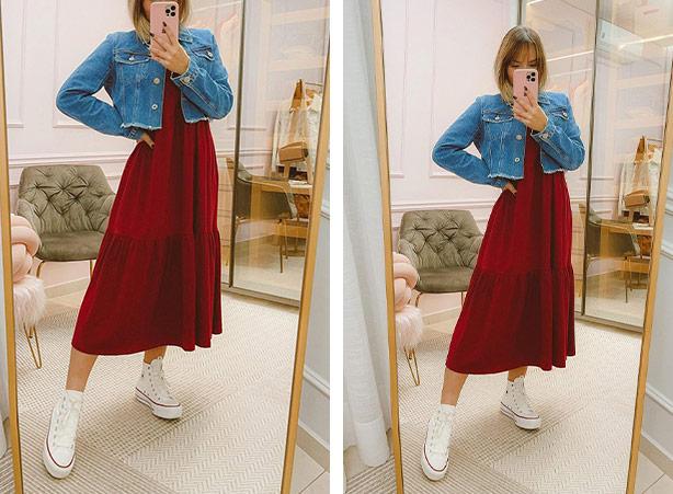 Vestido curto com jaqueta curta