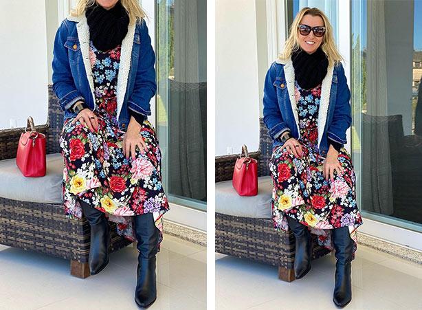 Vestido de inverno com jaqueta jeans de pelo
