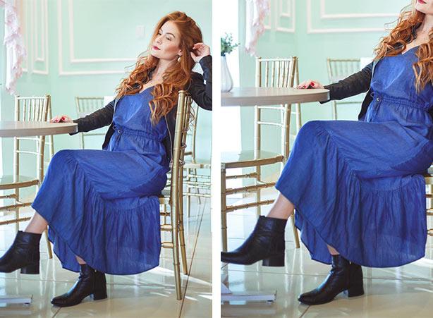 Look com vestido em denim no inverno