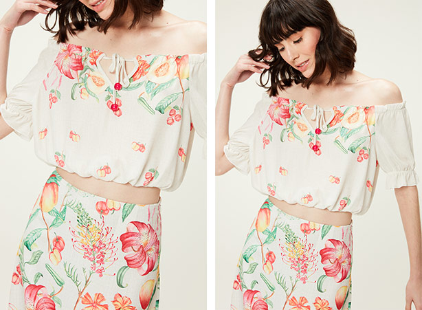 Conjunto de blusa e saia de estampa floral