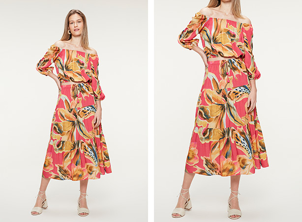 Conjunto de saia e blusa floral