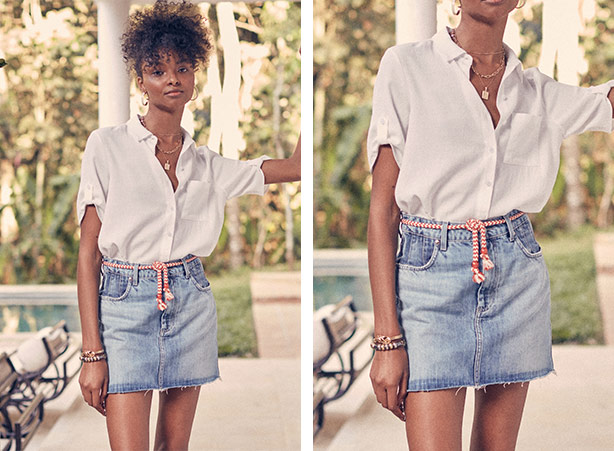 Camisa branca manga curta e saia jeans