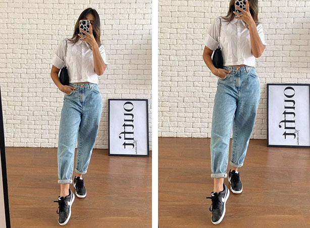 Look com tênis preto e calça slouchy jeans