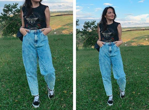 Calça slouchy jeans com tênis