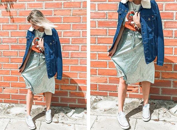Saia midi metalizada com jaqueta jeans
