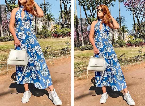Vestido azul com print branco