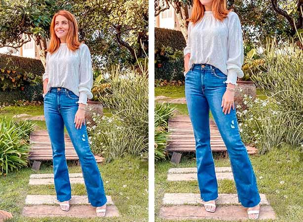Blusa branca com calça flare jeans