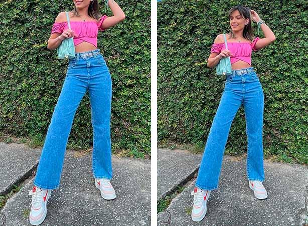 Calça jeans clara com blusa cropped rosa