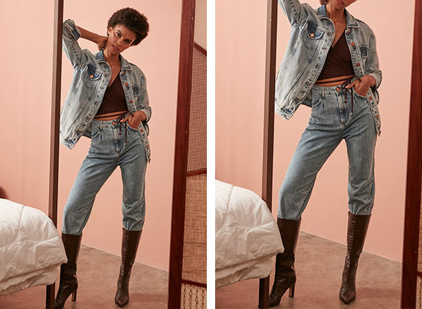 Calça jeans clara com bota de cano alto