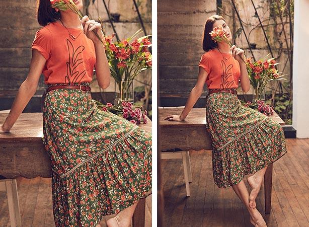 Cinto com saia estampa floral
