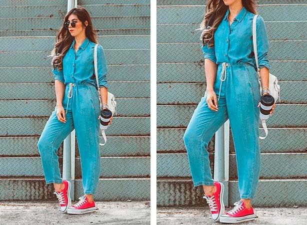 Look com calça jeans clara e tênis vermelho