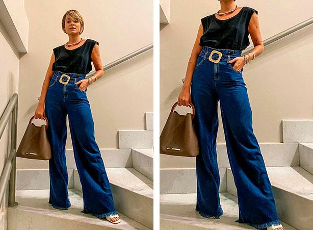 Calça pantalona jeans com blusa muscle tee