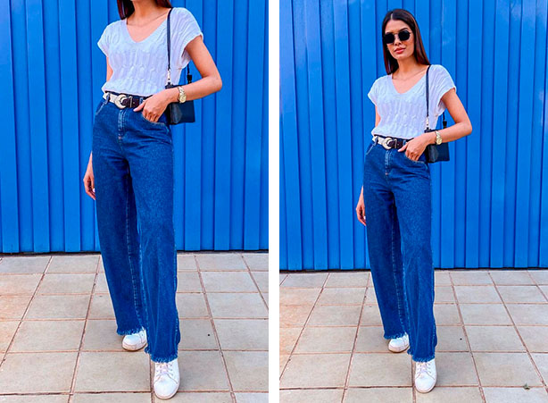 Calça pantalona jeans com blusa branca