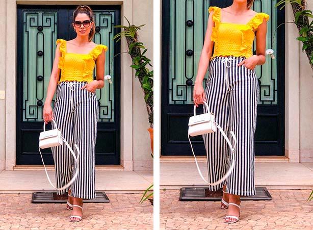 Look com pantalona listrada com blusa amarela