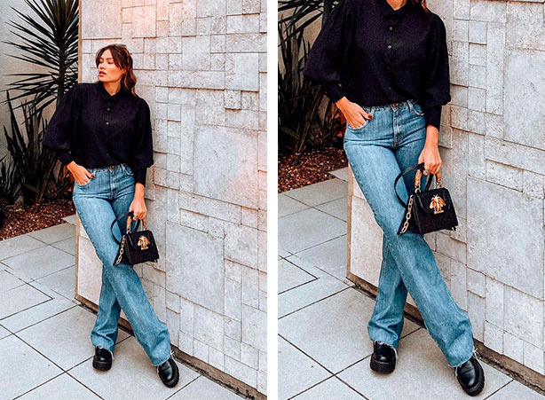 Look de wide leg jeans com camisa preta