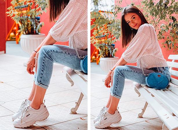 Calça mom jeans com a barra dobrada