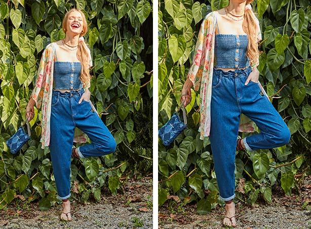 Calça slouchy jeans com barra dobrada