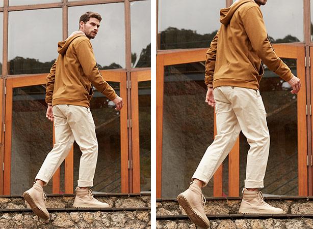 Dobra na barra da calça masculina
