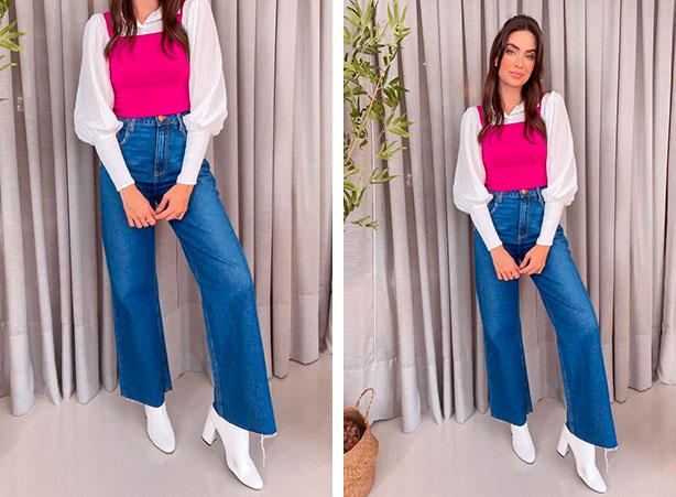 Calça jeans com botas brancas